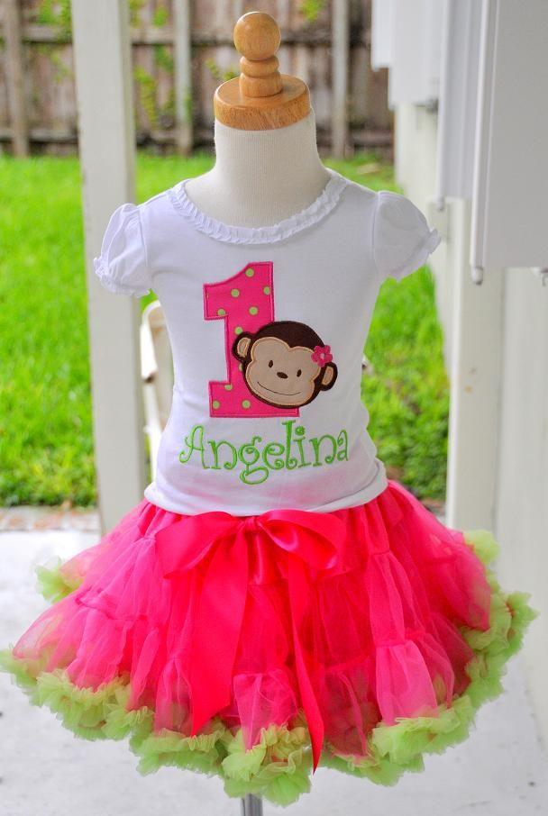 Girls Birthday Mod Monkey Hot Pink and Lime Pettiskirt Set