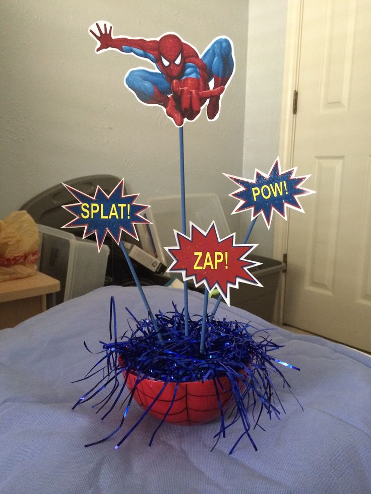 Spider man table decoration spider man birthday for Decoration de table