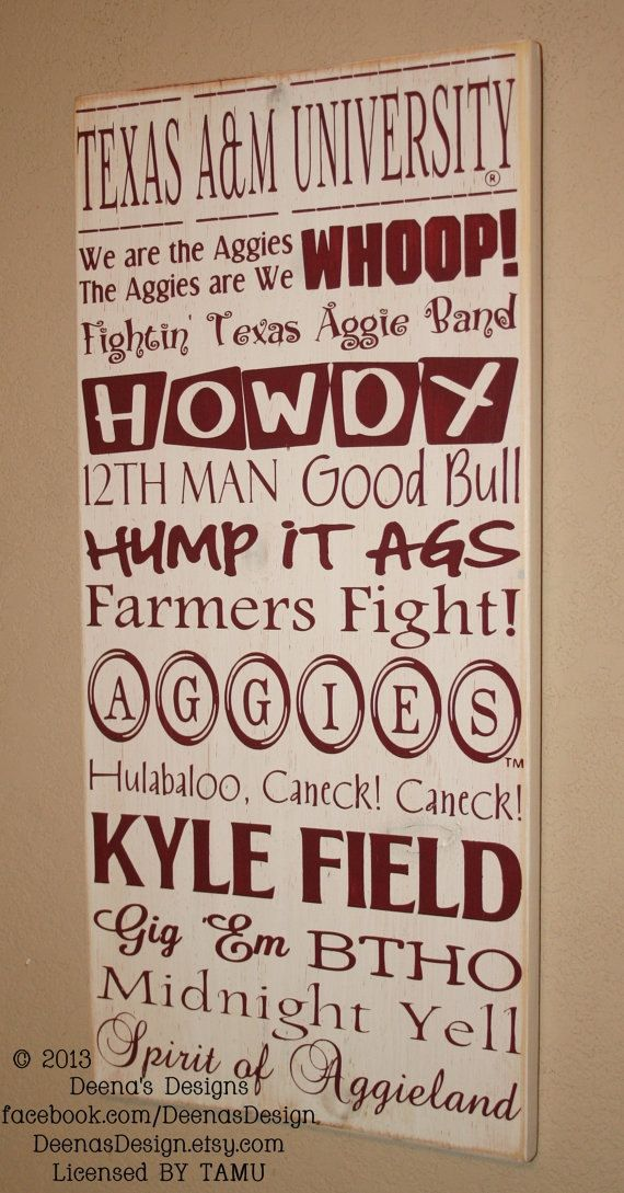 Texas A University Subway Art Sign, TAMU Aggies, Distressed Wood Signs, Wood Signage, Texas A and M University - Officially Licensed