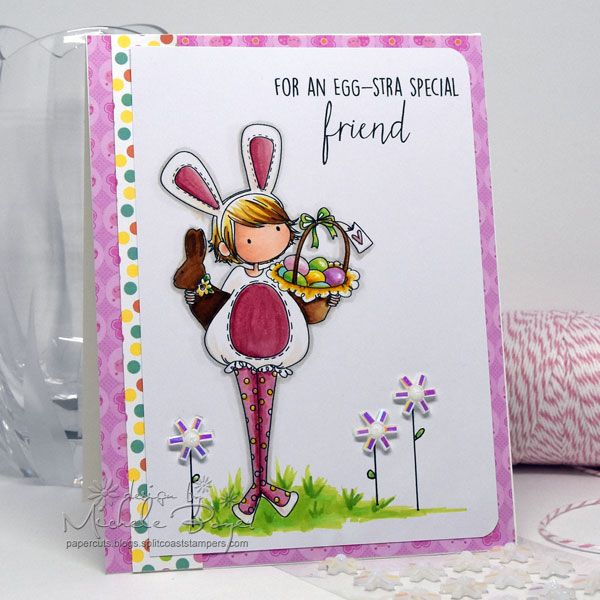 Rubber Stamp Card Making Ideas Part - 27: Stampingbella SPRING 2017 RELEASE- TINY TOWNIE ELLA Loves EASTER RUBBER  STAMP Card Made By Michele