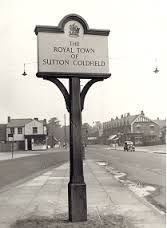 The old Royal Town of Sutton Coldfield town sign. (From old postcards of Sutton Coldfield - Google Search)