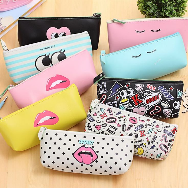 Cute Modern girl PU leather school pencil case for girl Kawaii Candy color Lip Dot pen bag stationery pouch school office supply