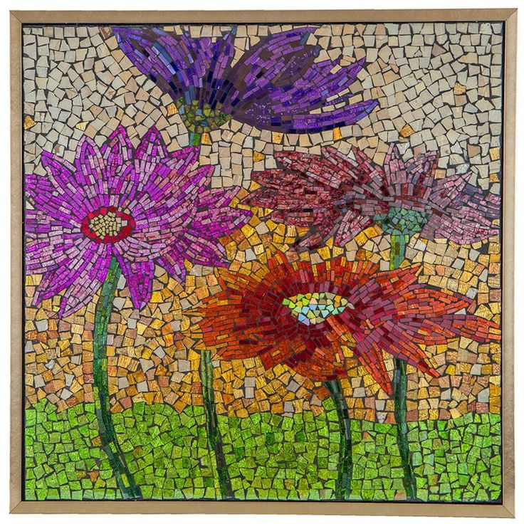 Blooming Flowers Mosaic Glass Tile Wall Art | 27.5 inches