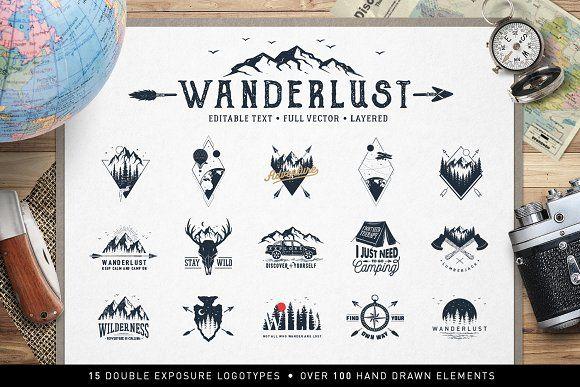 Wanderlust. 15 Double Exposure Logos by Cosmic Store on @creativemarket