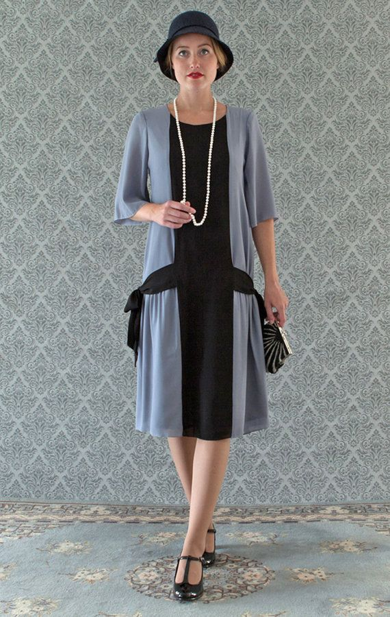 1920s Style Dresses Fun grey and black flapper dress with side bows 1920s flapper dress Great Gatsby dress art deco dress Miss Fisher dress robe Charleston $140.00 AT vintagedancer.com
