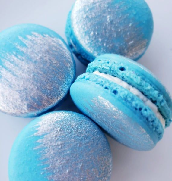 12 Baby Blue Silver Brushed French Macarons Baby Etsy In 2020 Blue Desserts Blue Cookies Macarons