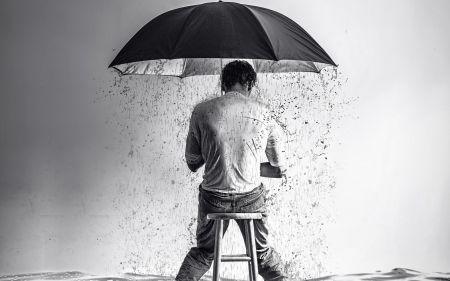 Θλίψη - δημιουργική, μαύρο, την κατάσταση, τη βροχή, τον άνθρωπο, τη διάθεση, bw, λευκό, φαντασία, ομπρέλα, λυπημένος