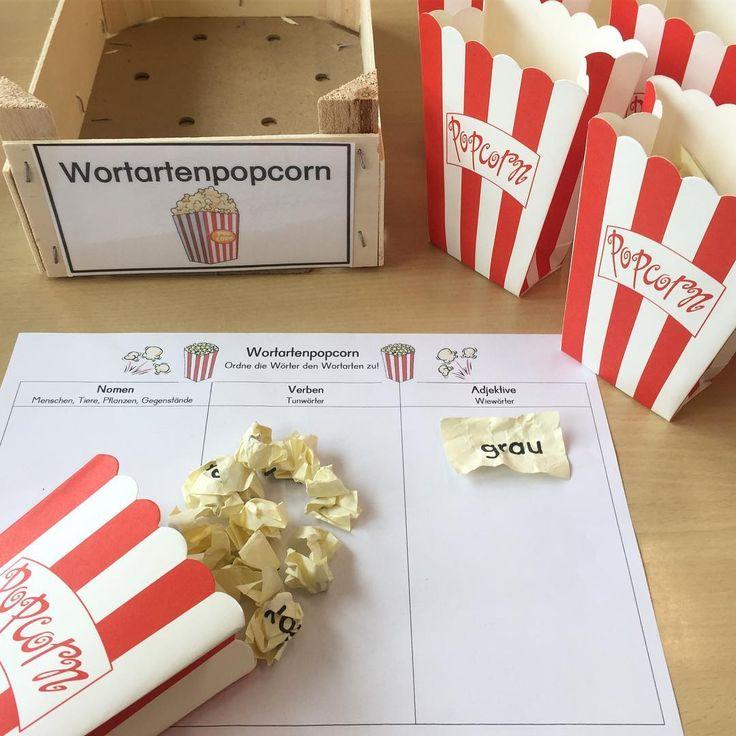 """Gefällt 645 Mal, 48 Kommentare - Froileins Kunterbunt (@_froileinskunterbunt) auf Instagram: """"Eine neue Station für mein Freiarbeitsregal: """"Wortartenpopcorn"""" Ein Popcorn wird gezogen,…"""""""