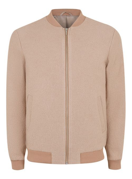 Pink Boucle Textured Wool Rich Formal Bomber Jacket - Men's Coats & Jackets - Clothing - TOPMAN USA