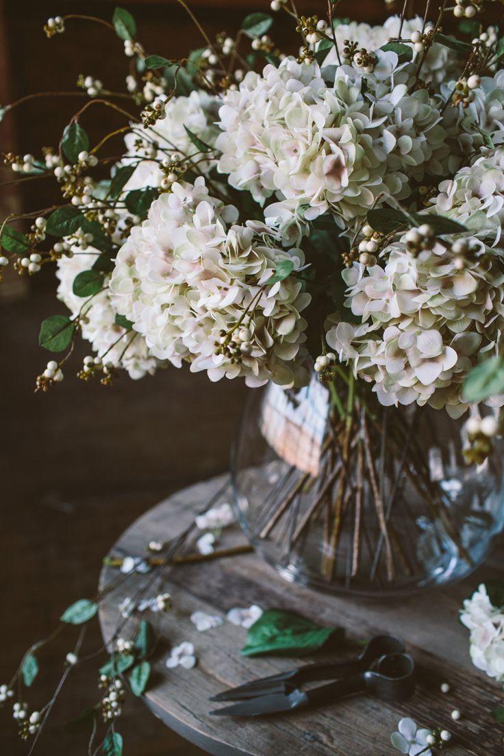Blush hydrangea & Snow Berries | The Olive Tree Shop
