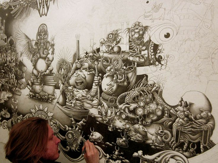Joe Fenton - Solitude. A massive 8ft wide by 5ft tall (2.4m x 1.5m) drawing made of graphite and later outlined in ink and acrylic.: Artists, Incredible Drawings, Acrylic, Draw Joefenton, Solitude, Artist Joe, Joe Fenton Artwork, Design
