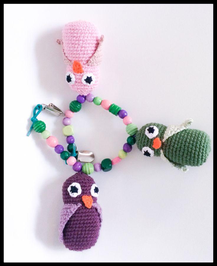 Crochet owls - barnevognskæde #obber