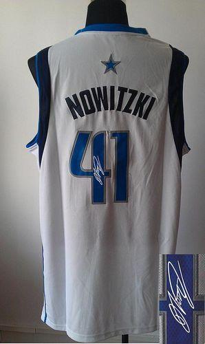 9579fee48 Revolution 30 Autographed Mavericks  41 Dirk Nowitzki White Stitched NBA  Jersey