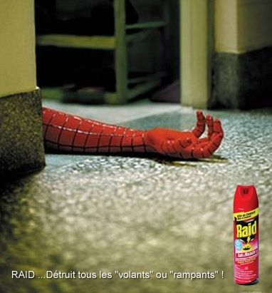 This is so funny. Raid saying it can kill all insects-- spiderman ! Love the cleverness!