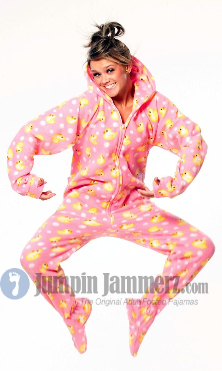f474604ed512 Warm up this winter in Jumpin Jammerz Soft Pink Ducks adult footed ...