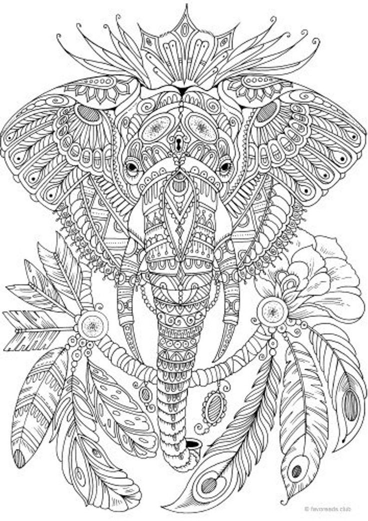 Elephant Printable Adult Coloring