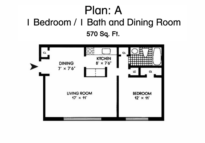 Morningside Gardens One Bedroom Apartment Floor Plan - 1 Bed, 1 Bath & Dining Room, 570 Sq. Ft.