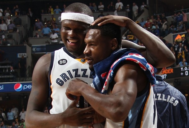 May 13, 2013 - Memphis Grizzlies forward Zach Randolph (50) congratulates Memphis Grizzlies guard Tony Allen (9) after Tony grabbed an inbounds steal from the Thunder late in overtime at the FedExForum Monday evening. (Nikki Boertman/The Commercial Appeal)