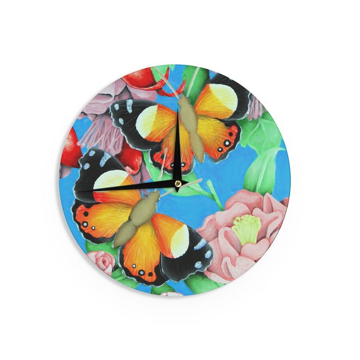 "Vinny Thompson ""Yellow Admiral"" Multicolor Tropical Wall Clock"