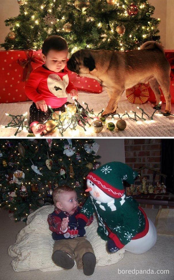 Смешные попытки родителей повторить рождественские фотографии младенцев, закончившиеся полным провалом (20 фото)