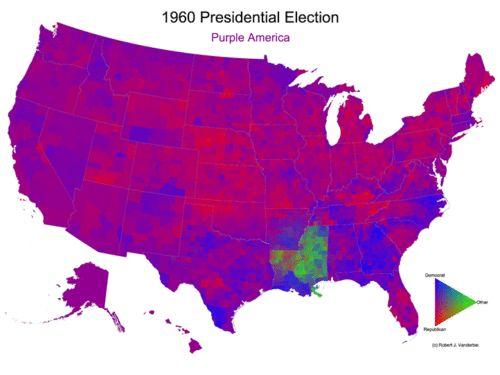 1960 Presidential Election Purple USA Kennedy Nixon Byrd (green)