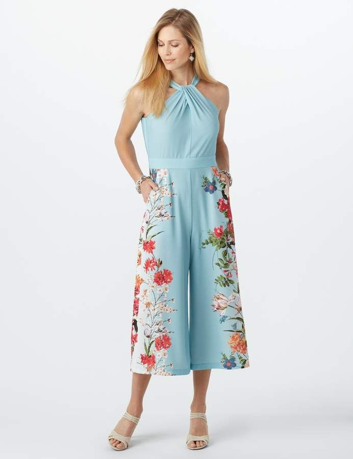 9a2856c67b6 Dressbarn Floral-Print Halter Jumpsuit. The perfect instant-outfit to wear  all season long. Gorgeous floral print a…