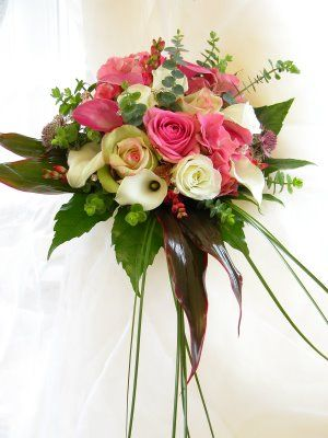 lily+cascade+wedding+bouquet | This Hand Tied Wedding Bouquet is created from Pink & Ivory Calla ...