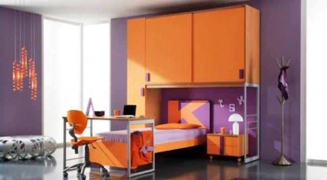 orange and purple bedroom. purple and orange bedroom paint