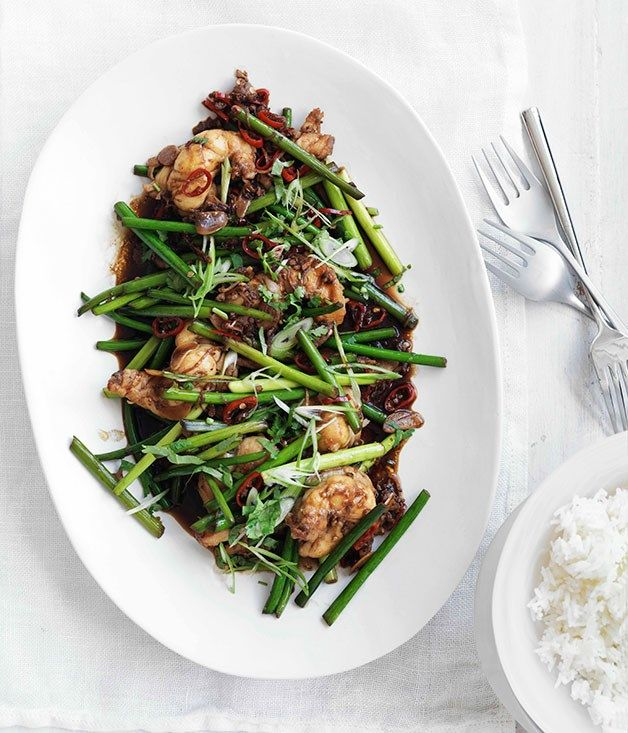 Stir-fried lobster with Sichuan pepper and garlic stems :: Gourmet Traveller