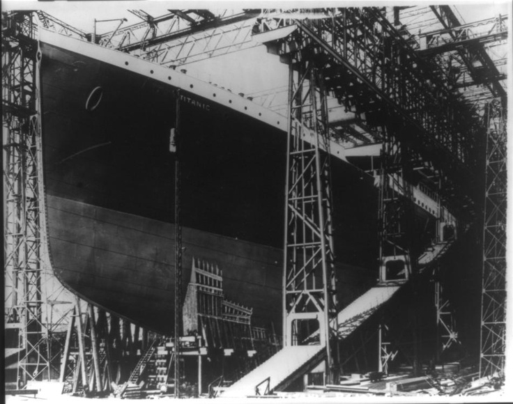 Titanic in dry dock.  (Library of Congress)