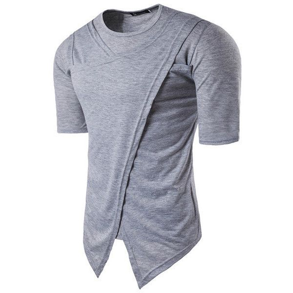 s Summer Hip Hop High Street Irregular Solid Color O-neck Short Sleeve... ($17) ❤ liked on Polyvore featuring men's fashion, men's clothing, men's shirts, men's t-shirts, light gray, mens collared shirt, mens long sleeve cotton t shirts, mens regular fit shirts, mens long sleeve t shirts and mens cotton t shirts