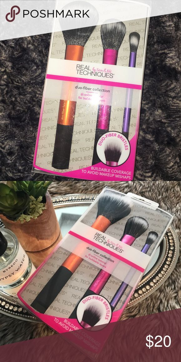 Real Techniques Duo Fiber brush set New in box 3 steps to a feather soft finish  Dou fiber bristles designed to pick up & release lighter amounts of makeup for buildable , mistake proof application .  Includes : dou fiber face brush Dou fiber eye brush  Dou fiber contour brush .  Price is firm . real techniques Makeup Brushes & Tools