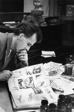 Mervyn Peake looking over some sketches. The British Library has acquired the author's 39 Gormenghast notebooks, his complete set of original drawings for Lewis Carroll's Alice books and his personal correspondence with authors including Laurie Lee, John Berger and CS Lewis