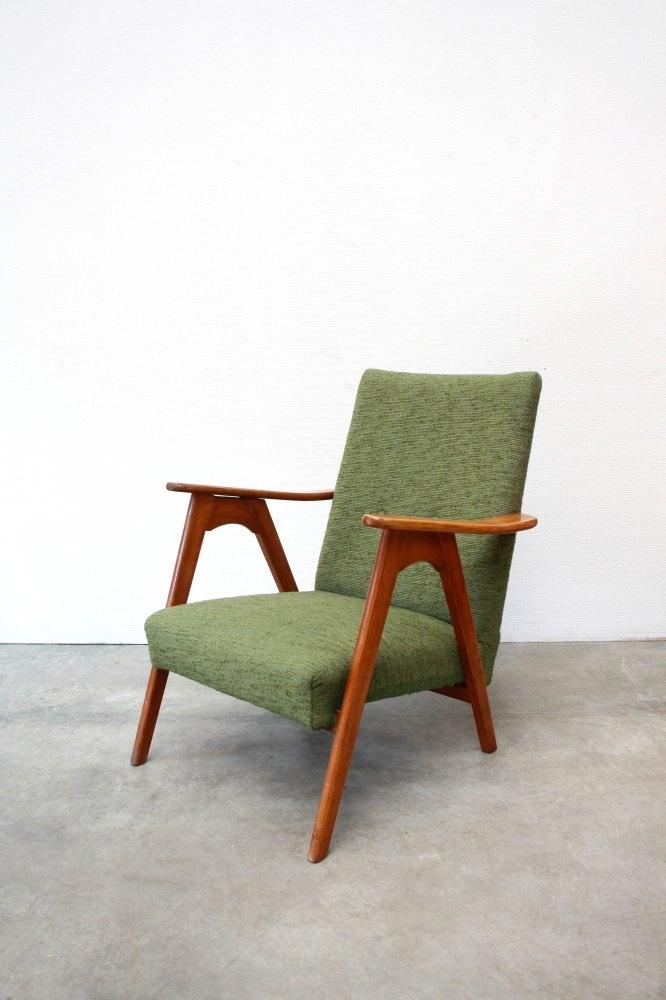 Vintage Deens design fauteuil met groene bekleding