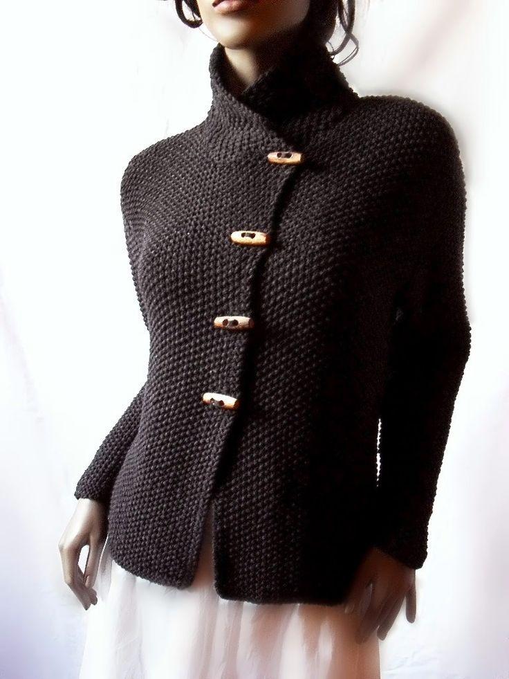 Women's Knit Jacket  Merino Wool Cardigan Hand Knit  door Pilland
