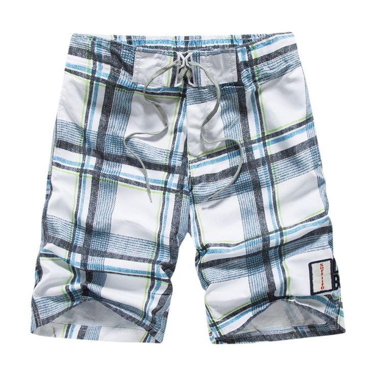 High quality board shorts mens surf masculina Summer plus size plaid board shorts men Beach wear quick-drying pants men