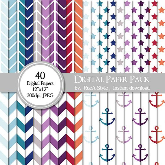 SALE 40 Digital Paper Pack Anchor Design Summer by rueastyle