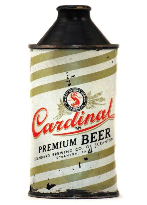 Cardinal Premium Beer, cone top can.