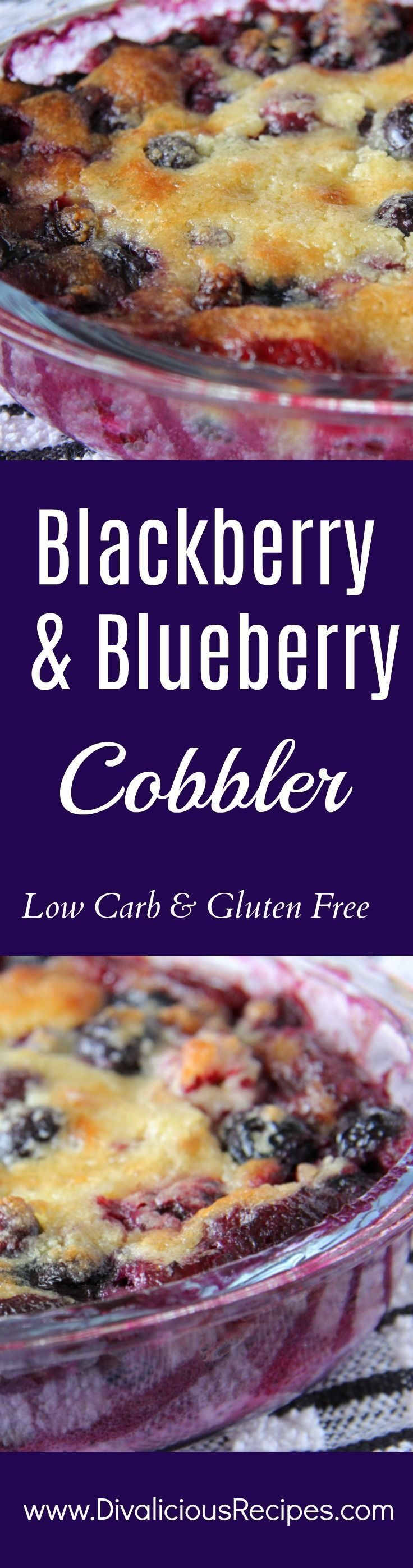 This blackberry and blueberry cobbler is a delicious comfort food dish.    Made with almond flour it is low carb and gluten free deliciousness in a bowl!