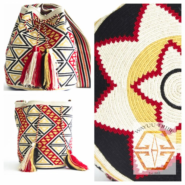 Visit www.Wayuutribe.com to see more Mochilas and boho bags styles. These bags are known as the Susu bag to the Wayuu people. The average bag takes 20-30 days to hand weave. All bags are Handmade. Wayuu people are use bight different colors and patterns to tell the story of the weaver. These are all one-of-kind bags. Wayuu tribe bags are $260.00 They are woven with cotton thread. A nice beach bag or farmer bag that is very sturdy. #boho #HANDMADE @M ≜ d e l i n e ➳