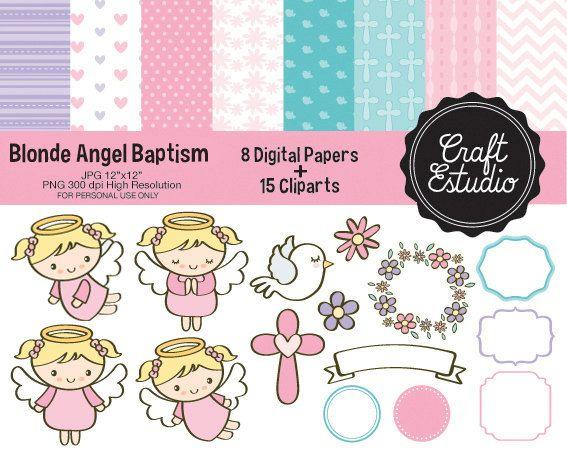 Bautizo Angel, Papel Digital, Instant Download, High Resolution, PNG Clipart, Bautizo Niña, Digital Kit, JPG Scrapbooking, Pastel Colors,