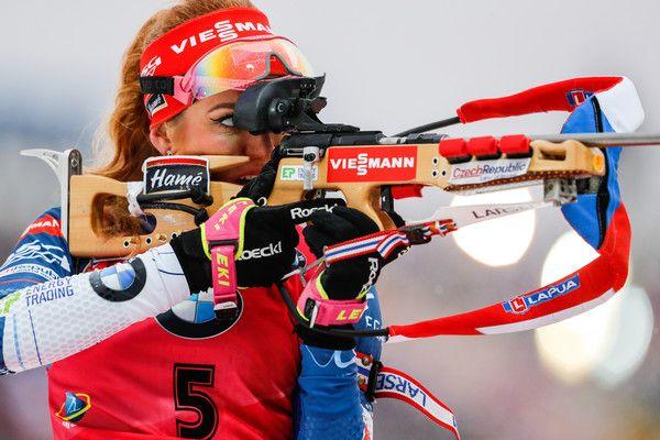 Gabriela Koukalova of Czech Republic takes 1st place during the IBU Biathlon World Cup Men's and Women's Mass Start on December 18, 2016 in Nove Mesto na Morave, Czech Republic.