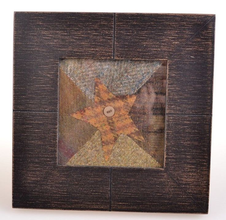 Country Rustic Cloth Fabric Star Art Black Square Frame with Glass Home Decor  #Country