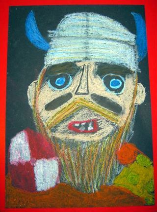 Picture Book Activity: Vikings oil pastel art project inspired by the book Hiccup by Cressida Cowell