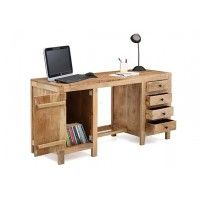 Brason Study Table With Drawer And Cabinet (Natural Finish)