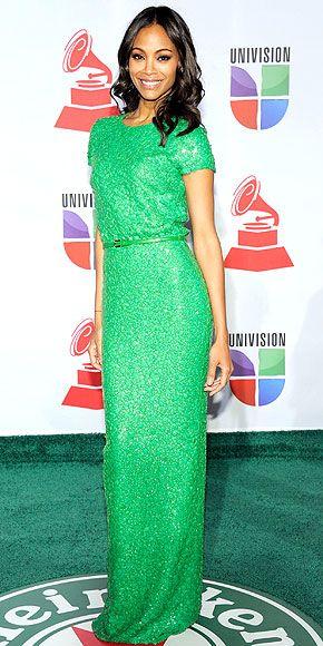 Zoe SaldanaLas Vegas, Green Envy, Elie Saab, Fashion Forward, Ellie Will Be, Red Carpets, Zoe Saldana, Fashion Style Clothing, Green Dresses