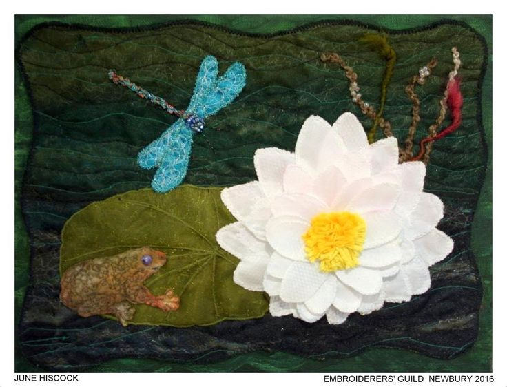 """""""Waterlily"""", by June Hiscock, Newbury branch of Embroiderers' Guild. Part of """"Celebrating 300 years of Capability Brown"""" exhibition at Blenheim Palace 13 April - 2 May 2016. Exhibition held as part of the UK's Capability Brown Festival"""