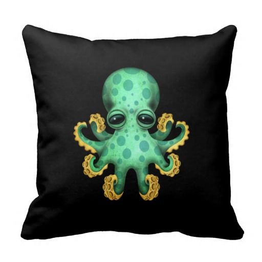 Cute Green Baby Octopus on Black Throw Pillow Babies, Black throws and Baby octopus