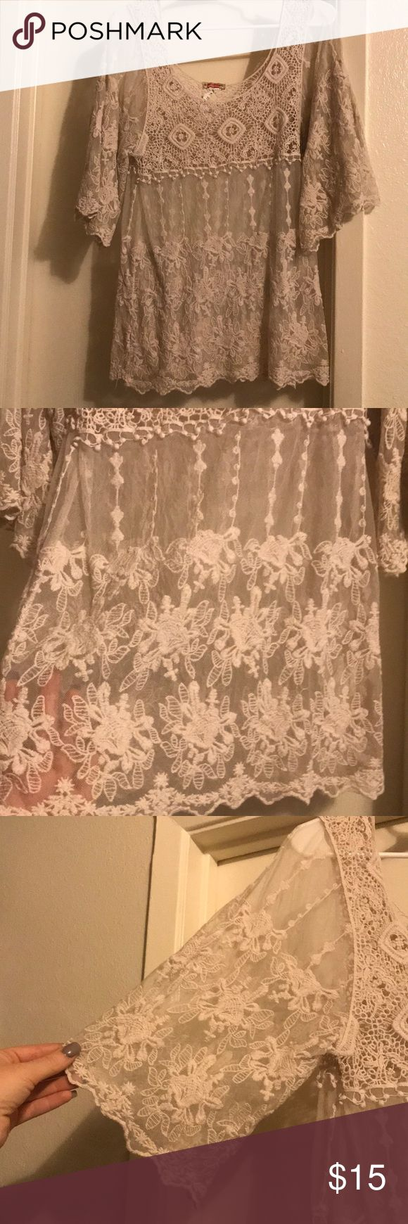 Adorable lace overlay top! Dressy cute Super adorable over lay goes perfect with any outfit Body Central Tops Tees - Short Sleeve