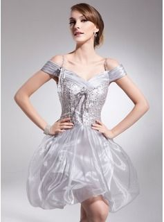Special Occasion Dresses - $155.99 - A-Line/Princess Off-the-Shoulder Short/Mini Organza Charmeuse Homecoming Dress With Ruffle Beading Sequins  http://www.dressfirst.com/A-Line-Princess-Off-The-Shoulder-Short-Mini-Organza-Charmeuse-Homecoming-Dress-With-Ruffle-Beading-Sequins-022008945-g8945